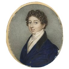 Portrait Miniature of a Young Man with Curly Hair Mid 19th Century