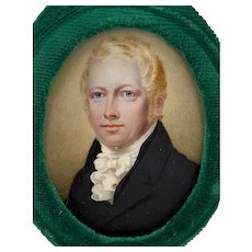 19th Century Portrait Miniature of a Young Man with Blonde Hair and Blue Eyes