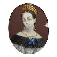 19th c. Russian Princess with Tiara and Elaborate Jewelry Portrait Miniature