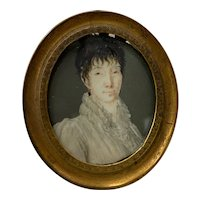 19th c. Portrait Miniature of a Young Woman with Wavy Bangs