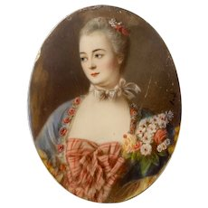 19th c. Portrait Miniature of an Elegant Woman with a Bouquet of Flowers