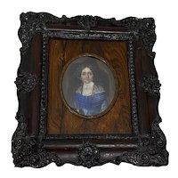 19th Century Portrait Miniature of Woman w/ Black Lace Shawl