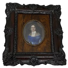 19th Century Portrait Miniature of Woman w/ Black Lace Shawl