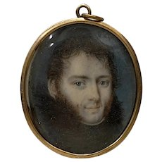 Fine 19th Century Miniature Portrait of a Young Man with Fur Collar