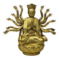 Gilded Cast Bronze Buddha with Multiple Arms