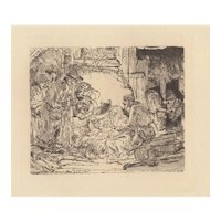 The Nativity Etching After Rembrandt 20th c.