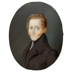 19th c. Fine Portrait Miniature of a Young Man with Curly Red Hair