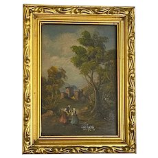 Antique European Small Scale Country Landscape with Figures