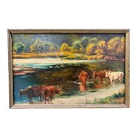 "James McDougal Hart (1828-1901) ""Cattle at Water's Edge"" Original Painting c.1890s"