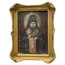Russian Orthodox Priest Original Oil Painting on Panel 19th c.