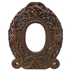 19th c. Exquisitely Detailed Anglo Indian Hand Carved Picture Frame