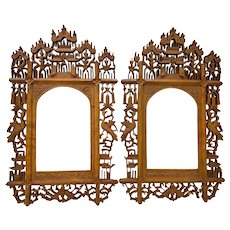 19th c. Pair of Hand Carved Anglo Indian Teak Wood Picture Frames