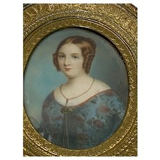 Fine 19th c. Portrait Miniature of a Young Woman w/ Curled Hair