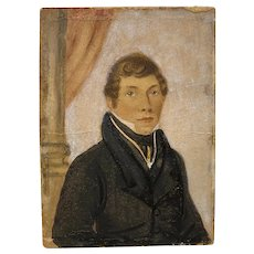 Portrait Miniature of a Handsome Young Man on Paper c.1840s