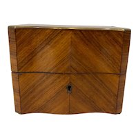 19th C. Cross Banded Mahogany Box w/ Brass Inlay
