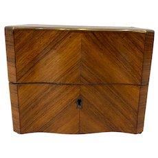 19th C. Cross Banded Mahogany Box w/ Brass Inlay