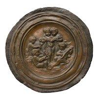 19th Century Raised Relief Embossed Copper Tondo