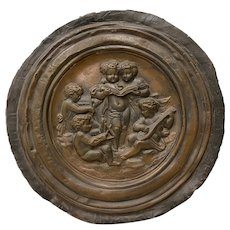 19th Century Raised Relief Embossed Copper Tondo
