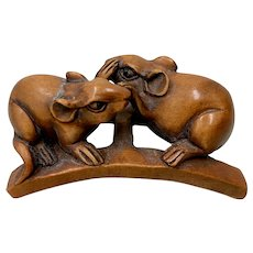 """Finely Carved """"Two Mice"""" Japanese Netsuke"""