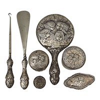 19th Century Sterling Silver Vanity Set w/ Hallmarks