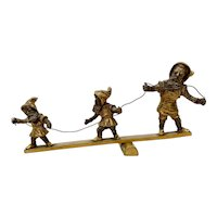 Early 20th C. Gilded Bronze Sculpture of Three Balancing Dwarf's