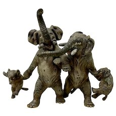 "Miniature Geschutz Vienna Bronze ""Elephant Family"" Sculpture"