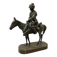 Evgeni Alexandrovich Lanceray Russian Bronze Cossack Rider on Horse Bronze Sculpture