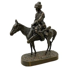 Evgeni Alexandrovich Lanceray Russian Bronze Cossack Rider on Horse Bronze Sculpture