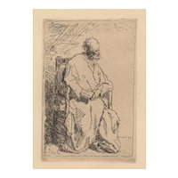 Old Man in Long Cloak - After Rembrand Etching 20th c.