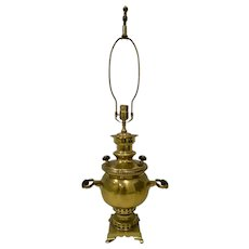 19th Century Russian Brass Samovar Table Lamp
