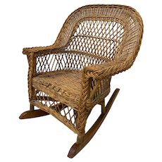 American 19th Century Child's Wicker Rocking Chair