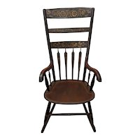 Mid 19th Century Hand Painted & Stenciled American Windsor Rocking Chair c.1850s