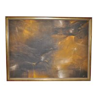 """Large and Impressive 1950s Abstract Oil Painting """"Swallows Five"""" by Monte`"""