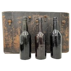19th Century Stitched Leather Wine Bottle Storage Case with Three Old Bottles