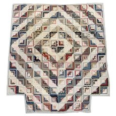 19th Century American Log Cabin Counterpane Quilt