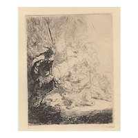 The Small Lion Hunt - Etching After Rembrandt 20th c.