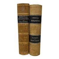 Pair of Leather Bound Antique Medical Books c.1880s