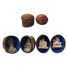 "Rare 19th Century Walnut Shell ""European Landmarks"" Dioramas"