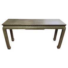 Vintage Asian Style Grass Cloth Console Table by Baker c.1970s