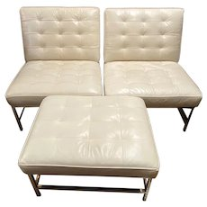 Pair of Mitchell Gold + Paul Williams Leather & Chrome Side Chairs w/ Ottoman