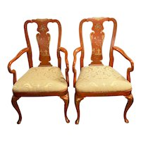 Pair of Chinese Red Chinoiserie Arm Chairs by Kindel c.1980