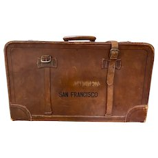 "Vintage ""San Francisco"" Stenciled Leather Suitcase c.1930s"
