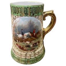 Vienna Porcelain Tankard with Equestrian Fox Hunt Scene