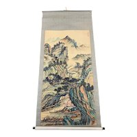 Mid 20th Century Hand Painted Chinese Hanging Scroll