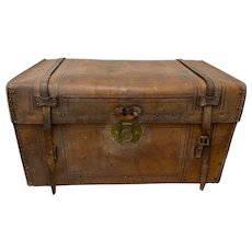 19th Century Leather & Brass Tack Steamer Trunk c.1880s