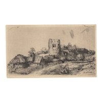 Landscape With Square Tower After Rembrandt 20th c.