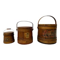 "Set of Three Late 19th Century ""Jellies & Preserves"" Wooden Firkins / Buckets"