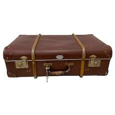 Antique German Leather Suitcase by Echt Vulkanfibre c.1920s