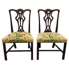 Pair of Antique Mahogany Chippendale Style Side Chairs with Needlepoint Seats 19th c.