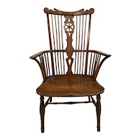 19th Century European Yew Wood High Back Windsor Arm Chair